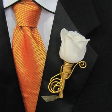 Wedding Boutonniere with Gold Wire Accents