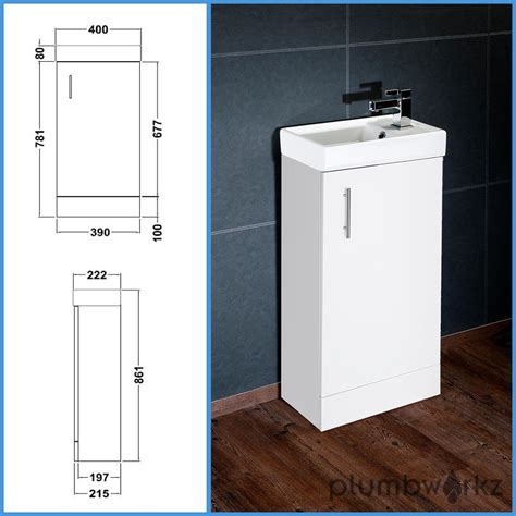 white bathroom vanity unit basin sink vanity 400mm floor standing tap waste ebay