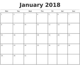 Calendar 2018 Monthly January 2018 Monthly Calendar Template