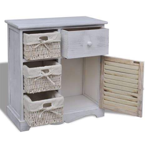 bathroom basket drawers white wooden cabinet w 3 woven basket drawers buy