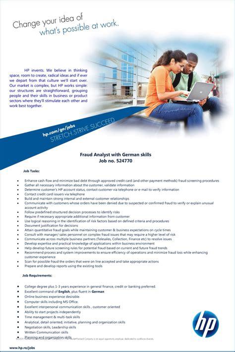 Fraud Analyst by Fraud Analyst With German Skills No 524770 Hewlett Packard Enterprise