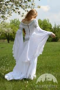 Medieval Wedding Dresses Exclusive White Medieval Wedding Dress With Handmade Celtic Style Embroidery For Sale Available