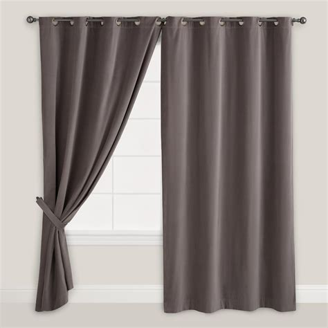 gray grommet curtains gray velvet grommet top curtain world market