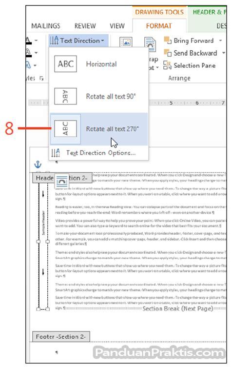 fungsi tab design pada header dan footer tools tik kesukaanku cara mengubah orientasi halaman portrait