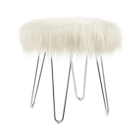 Ivory Faux Flokati Stool by Faux Flokati Foot Stool Bed Bath Beyond