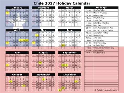 Chile Calend 2018 Chile 2017 2018 Calendar