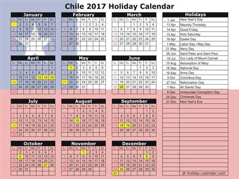 Calendar 2018 Showing Bank Holidays Chile 2017 2018 Calendar