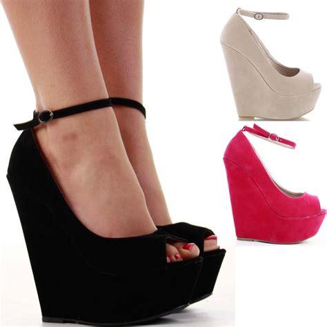 high heel wedges platform strappy peeptoe wedge