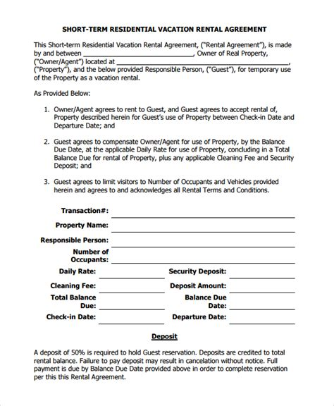 8 Sle Vacation Rental Agreements Sle Templates Condo Rental Agreement Template