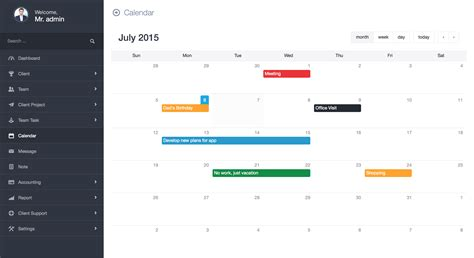 codeigniter calendar template ekushey project manager crm by creativeitem codecanyon