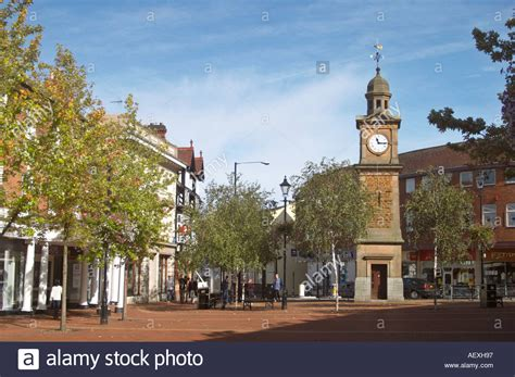 centre uk the clock tower rugby town centre uk stock photo royalty