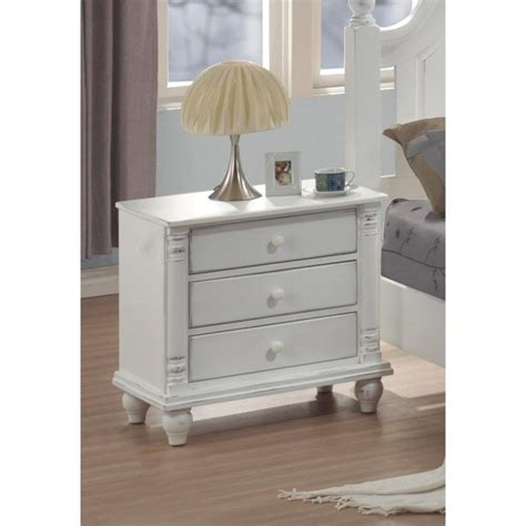 distressed white dresser and nightstand coaster kayla 3 drawer nightstand in distressed white