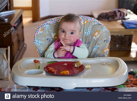 table foods for 8 month 8 month baby food in high chair stock