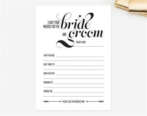 Marriage Advice Card Templates by Wedding Mad Libs Card Leave Your Wishes For The