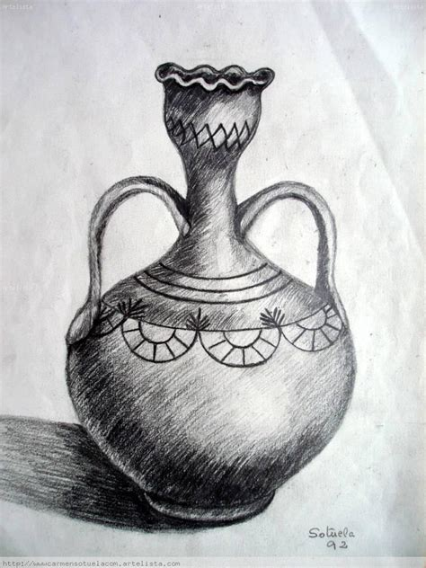 imagenes de jarrones a lapiz dibujo a mano alzada