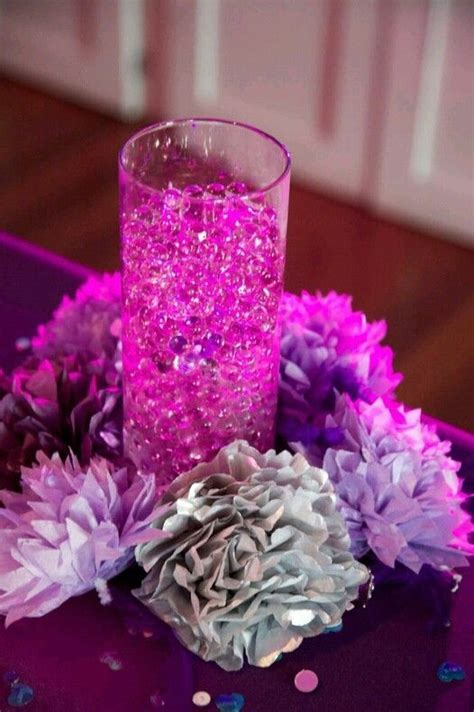 Paper flower and water bead centerpiece. #wedding #