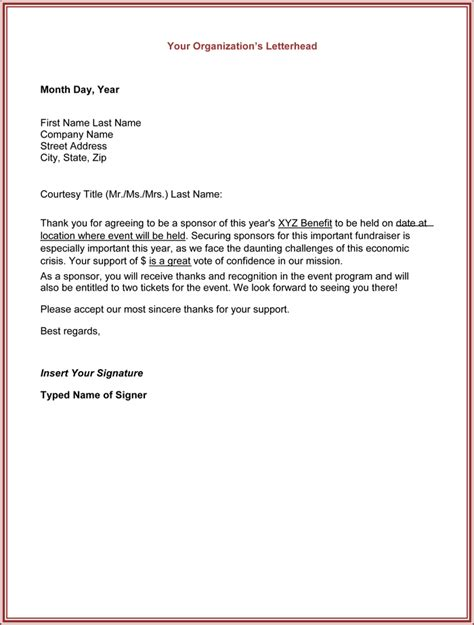 sponsorship thank you letter template thank you for your support letter 5 best sles