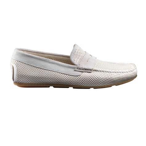 santoni tanton e9 perforated driving shoes white