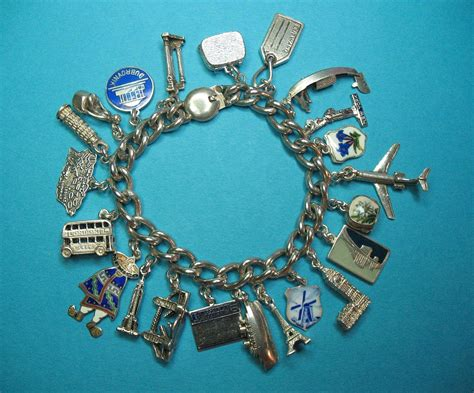vintage sterling silver world travel charm bracelet from