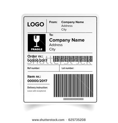 barcode label template shipping label barcode template vector stock vector