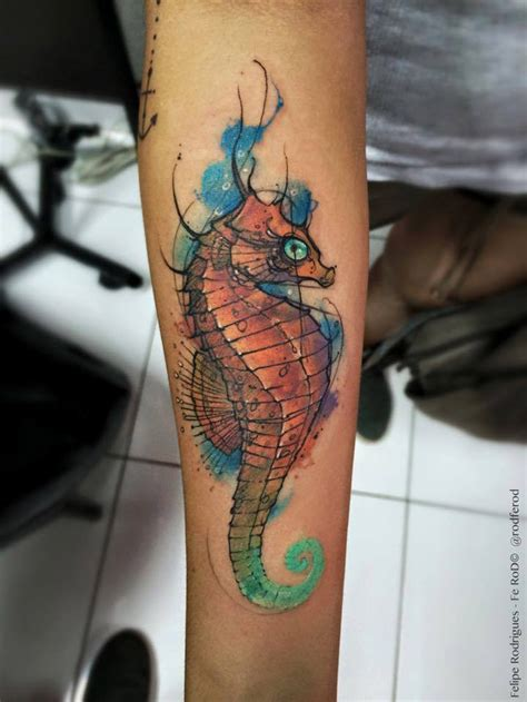 seahorse tattoos watercolor seahorse best ideas designs