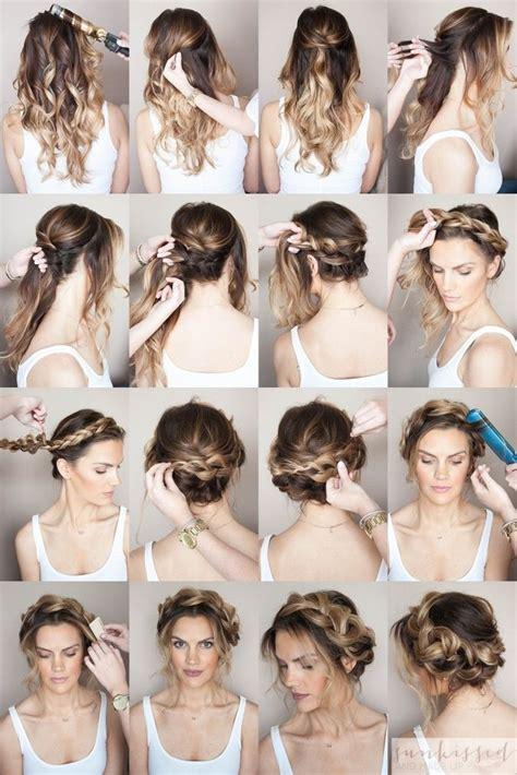 hair style poofed up in back of crown crown braid halo braid braided hair tutorial skmu