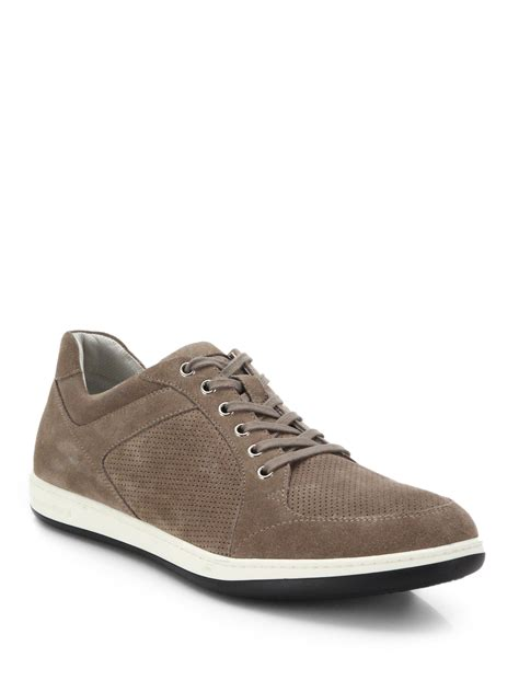 armani sneakers mens giorgio armani perforated suede sneakers in brown for