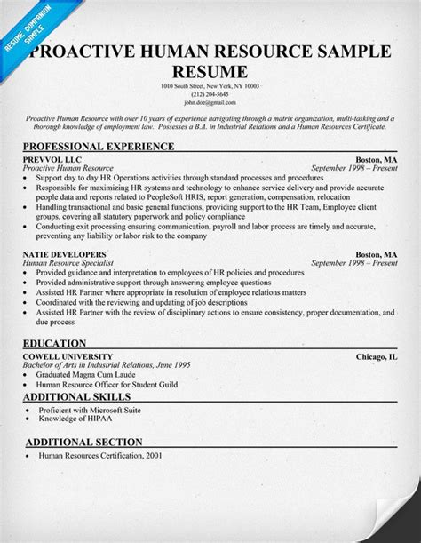 Human Resources Manager Resume Sle