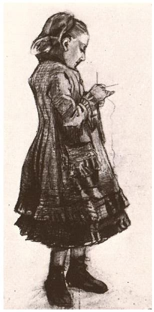 girl standing knitting  vincent van gogh  drawing