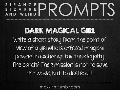 story of a girl themes this prompt dark magical girl could be interesting