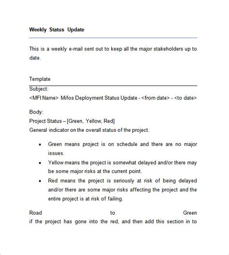 sle of weekly report to my manager weekly status report template 28 free word documents