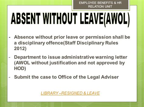 Sle Letter Employee Absent Without Leave msd management services division ppt