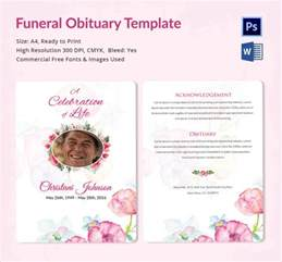 free printable obituary templates sle funeral obituary template 11 documents in pdf