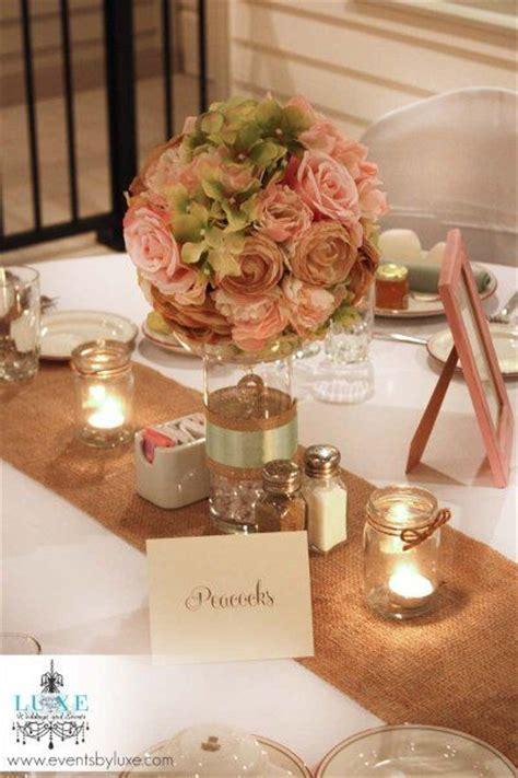 Pastel wedding soft pink and green wedding centerpiece