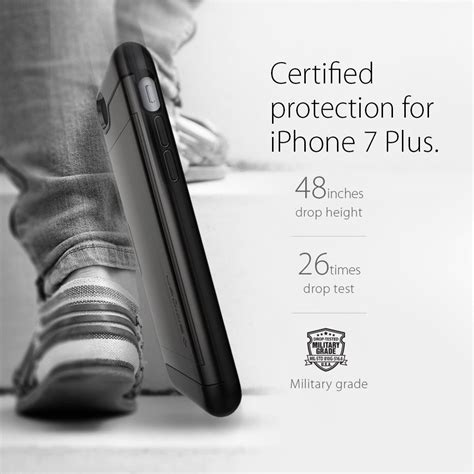 Spigen Slim Armor Gunmetal For Iphone 7 Plus spigen slim armor cs skal till apple iphone 7 plus