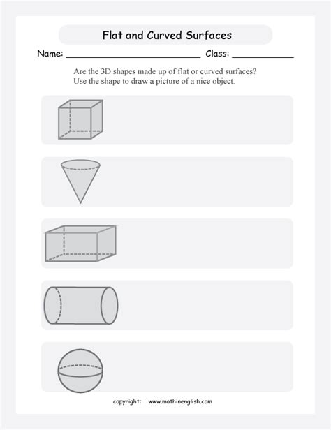Drawing 3d Shapes Worksheet by Are The 3d Shapes Made Up Of Flat Or Curved Surfaces Use