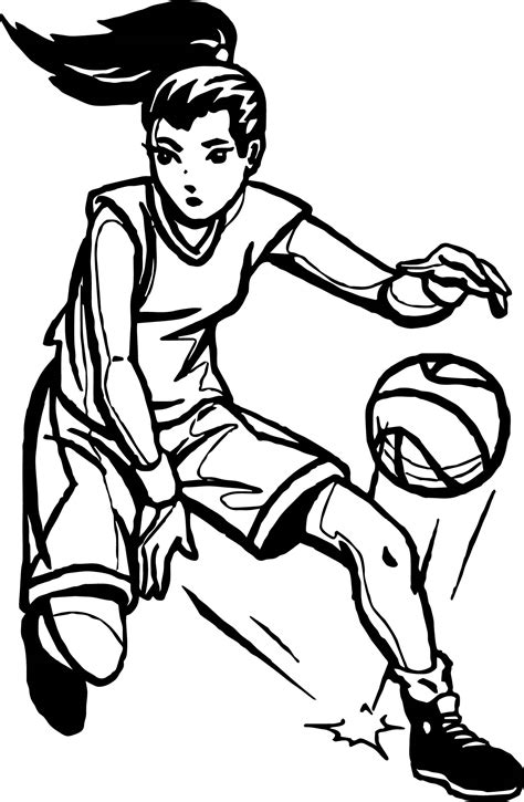 female basketball player coloring pages