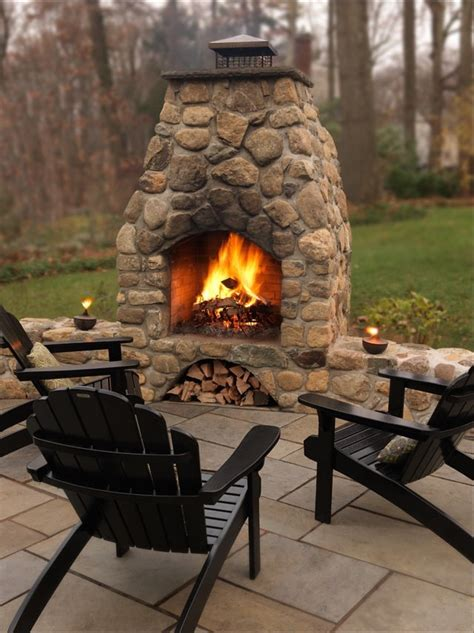 Outdoor Fieldstone Fireplace by Landscape Masonry Supply Morris Brick Nj