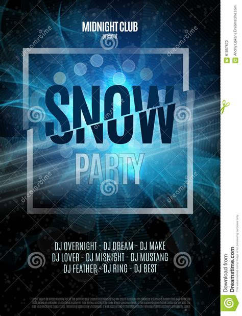 snow party flyer abstract winter poster background vector illustration stock vector image