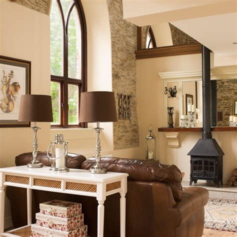 brown and cream living room ideas cream country living room with stove country living rooms living room country and stove