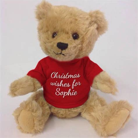personalised teddy bear for christmas by pink pineapple