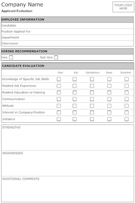candidate evaluation template best photos of candidate evaluation form