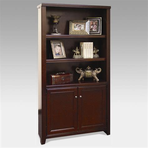 cherry wood bookcase with doors kathy ireland home by martin tribeca loft wood bookcase
