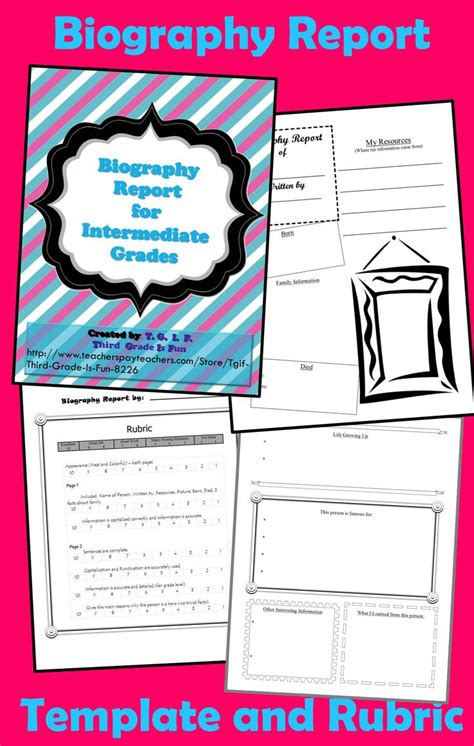 biography project ideas for 5th grade biography report template for intermediate grade common