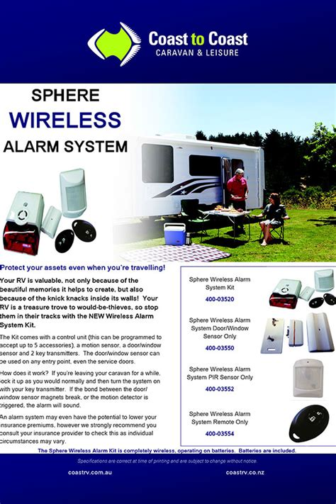 sphere wireless alarm system kit caravan