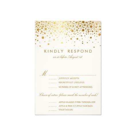 gold wedding invitation cards faux foil confetti gold and white vertical rsvp card