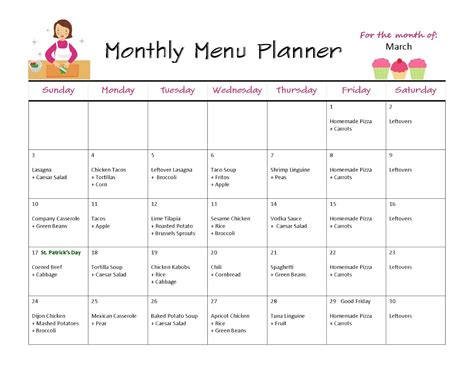 calendar menu template monthly menus images frompo 1