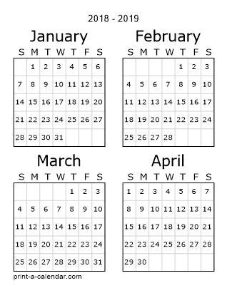 2018 calendar printable first quarter | 2019 2018 calendar
