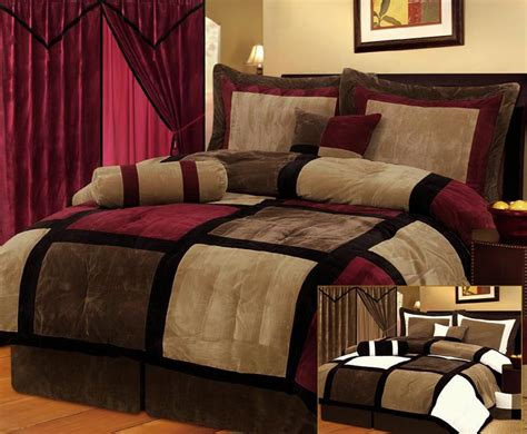 new burgundy black brown bedding suede comforter set twin