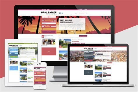 Real Estate Responsive Theme Website Templates On Creative Market Real Estate Responsive Website Templates Free